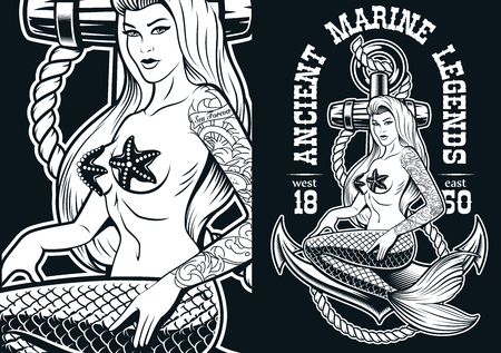 Black and white illustration with tattoo style. Perfect for shirts prints. Text is on the separate layer. Ilustracja