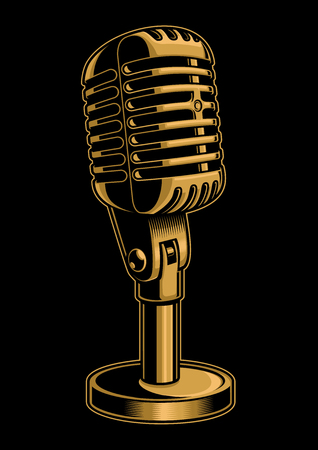 Vintage illustration of color microphone on black background