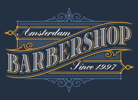 Vintage logo for the barbershop on the dark background