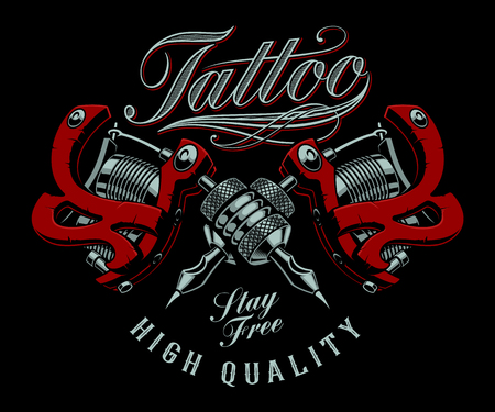Vector illustration of tattoo machines on a dark background.