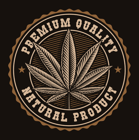 Vintage badge of a cannabis leaf on a dark background. Illustration