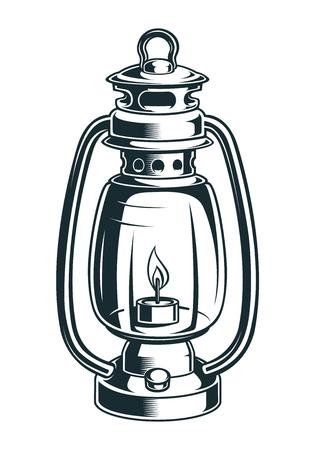 Vintage illustration of a kerosene lamp on the light background Ilustracja