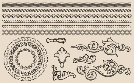 Set of vector baroque elements, chains for design.