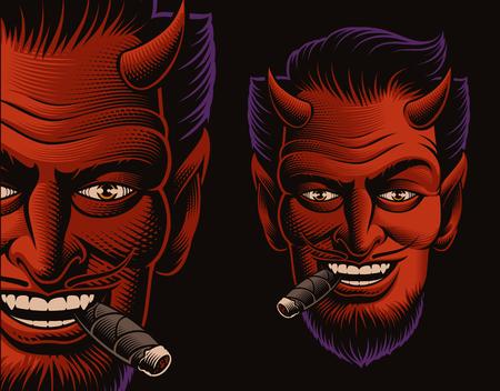 Coloured vector illustration of a devil face smoking a cigar Illustration