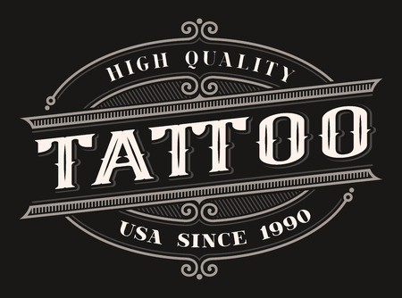 Vintage coloured lettering for the  tattoo studio on the dark background. All items are in separate groups