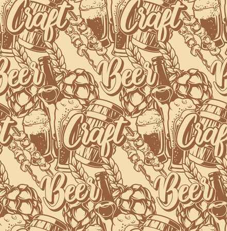 Seamless pattern with beer elements on a light background