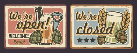 Vector set of signs for cafes in vintage style. All elements and text are in a separate group  Illustration