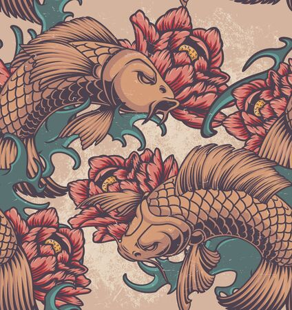 Color seamless pattern on the Japanese theme with koi carp, peonies and waves. Ilustração