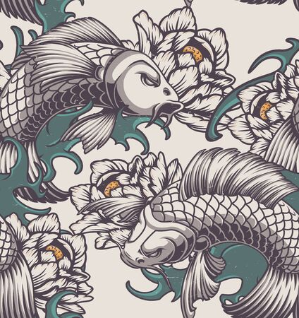 Color seamless pattern on the Japanese theme with koi carp, peonies and waves. Illustration