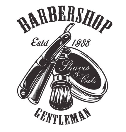 Vector illustration on the theme of barbershop with a razor 写真素材 - 133037561