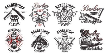 Set di illustrazioni in stile vintage per barbiere su sfondo bianco