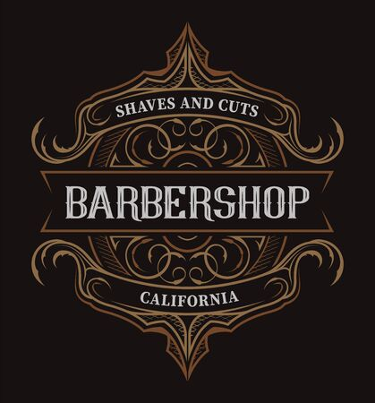 Vintage lettering for the barbershop on the dark background.  All items are in separate groups