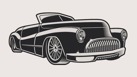 Ilustración de vector de un coche clásico de época sobre un fondo claro. La ilustración tiene un fondo de color claro.