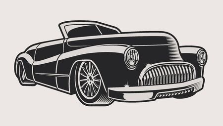 Vector illustration of a vintage classic car on a light background. The illustration has a light color background.