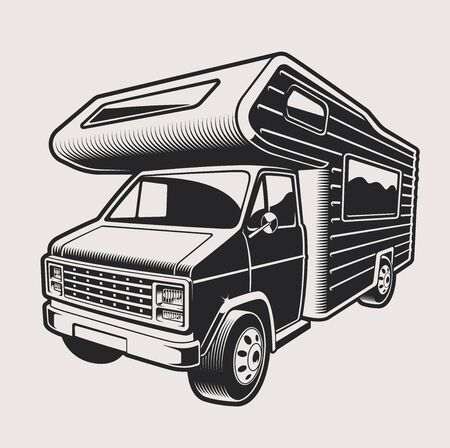 Vector illustration of a camping travel van on a light background. The illustration has a light background.