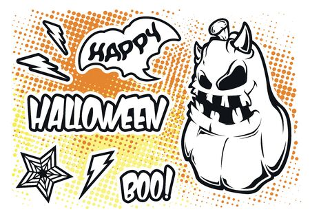 Vector set of stickers for halloween. Character design. All elements in separate groups.