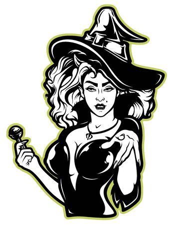 Ilustración de vector de una bruja para halloween sobre un fondo blanco. Todas las capas están firmadas.