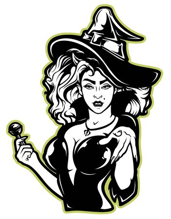 Vektor-Illustration einer Hexe für Halloween auf weißem Hintergrund. Alle Schichten sind signiert.