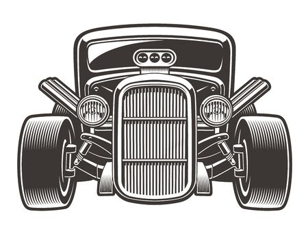 Black-white vector illustration of a vintage hot rod. The illustration has a white background, you can change the color, use it as a design element.