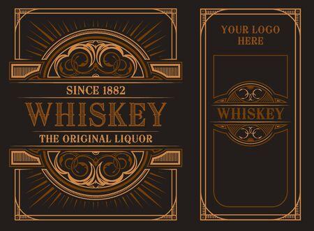 Modello di etichetta vintage su uno sfondo scuro. Sul lato anteriore e posteriore. Tutti gli elementi in gruppi separati