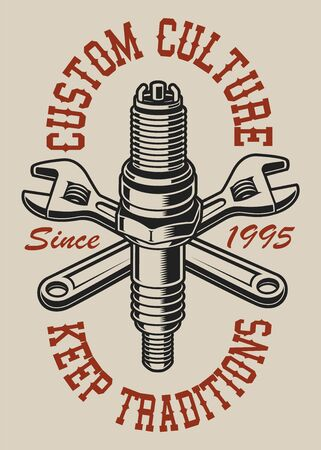 Illustration with crossed wrenches and spark plug on the light background. Text is on the separate layer.