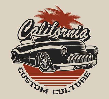 T-shirt design with a classic car in vintage style on the white background.