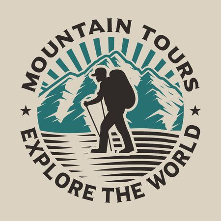 Vintage hiking logo concept with a hike in the forest on the white background.