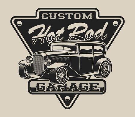 T-shirt design with a hot rod in vintage style on the white background.