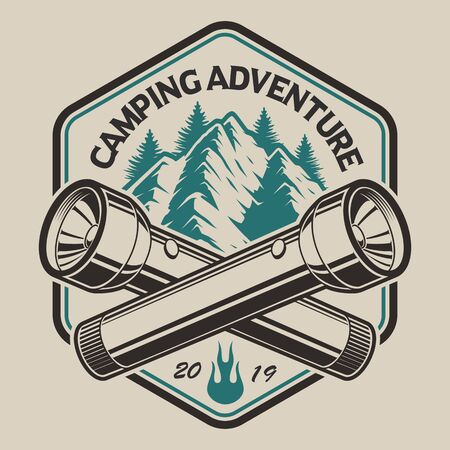 T-shirt design with a mountain, flashlight  in vintage style on the camping theme. Perfect for T-shirt design. Layered