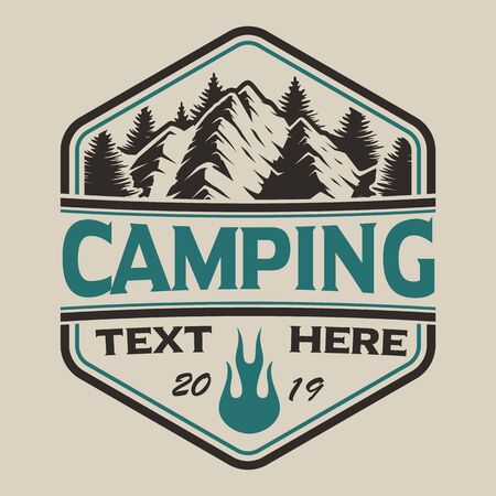 T-shirt design with mountains in vintage style on the camping theme. Perfect for T-shirt design. Layered