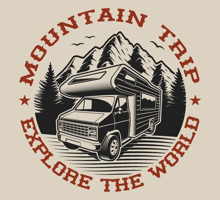 Vector illustration with camping van on the theme of travel. Ideal for t-shirt design. 일러스트