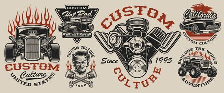 Set of vintage hot rod designs, perfect for logos, posters, apparel and many other. Layered Ilustracja