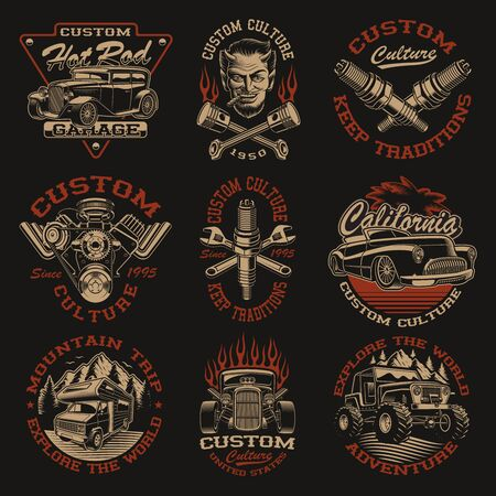 Set of vector black and white logos or shirt designs in vintage style for transportation theme on the dark background