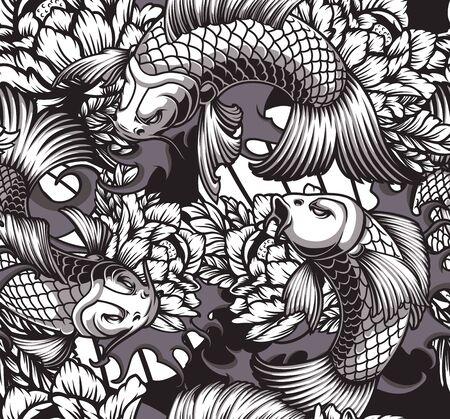 Nahtloses Muster des japanischen Themas mit Koi-Karpfen, Pfingstrosen und Wellen. Ideal für Textildruck Vektorgrafik