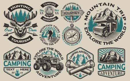 Set of vector black and white logos for the camping theme. Perfect for posters, apparel, T-shirt design and many other. Layered 일러스트