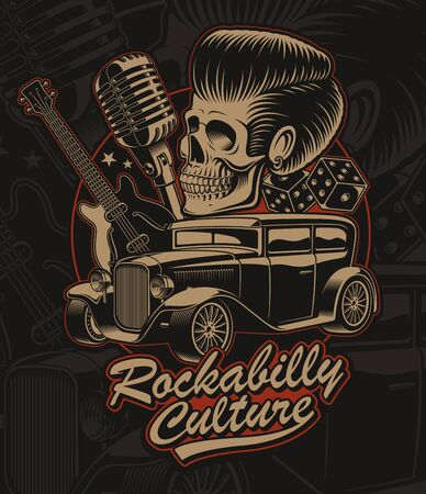 Vector illustration of a skull with hot rod, guitar and microphone in rockabilly style.