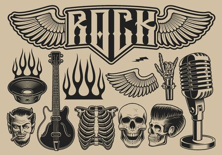 Set of vector illustrations on the theme of rock roll on a light background