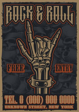 Color vintage poster on the theme of rock and roll with rock hand sign on the skulls background.