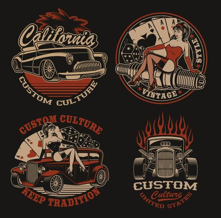 Set of colored  for shirt designs in vintage style for transportation theme and pin up girl.Perfect for posters, apparel, T-shirt design and many other. Layered