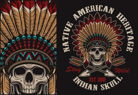 Color illustration with a indian skull in feather headdress. Perfect for shirt prints, and many other.