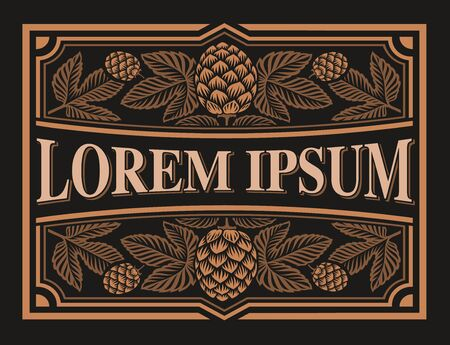 Vintage beer label with hop branches on the dark background