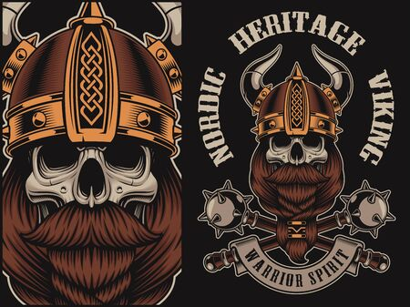 Vector illustration with a viking skull in helmet with mace.  Perfect for shirt prints, and many other.
