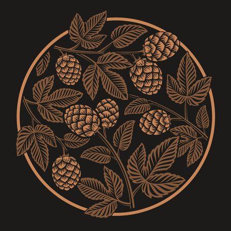Vintage round hop pattern, design for beer theme on the dark background