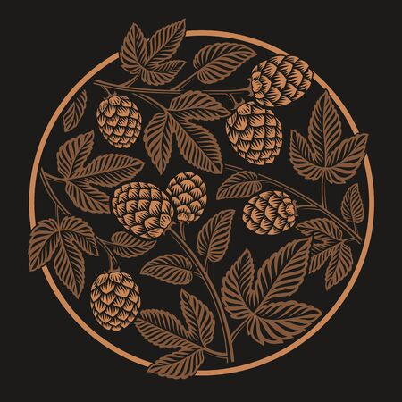 Vintage round hop pattern, design for beer theme on the dark background