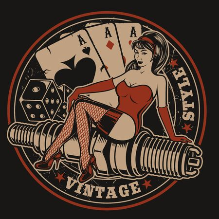 Illustration with pin-up girl on a spark plug with dice and playing cards in vintage style. All elements and text are in a separate group. 向量圖像