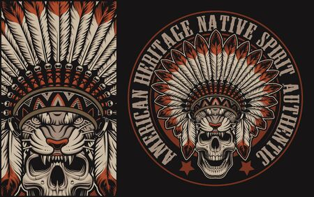 Colour illustration with a skull in indian headdress on a dark background. Perfect for shirt prints, many other.