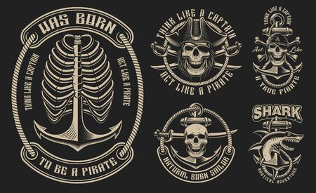 Set of vector illustrations for the pirate theme Ilustracja