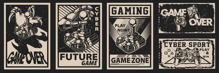 Set of vintage posters on the theme of gaming on a dark background. All elements are in separate groups.