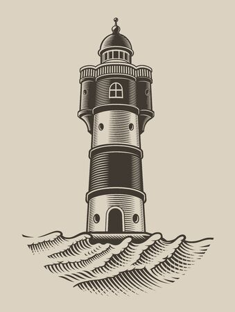 Black and white illustration of a lighthouse