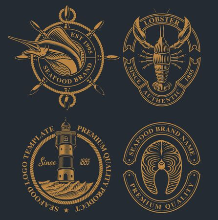 Set of vintage illustration for seafood theme. Stock Illustratie